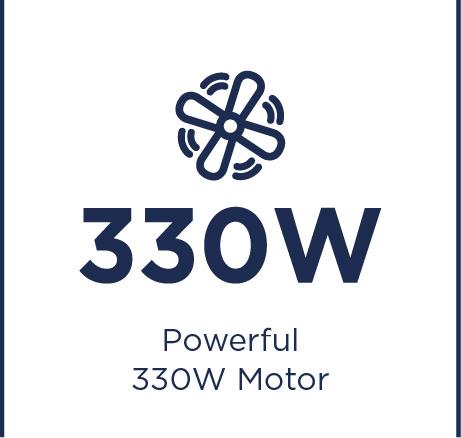 Erőteljes 330 W-os motor