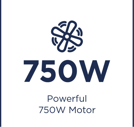 Erőteljes 750 W-os motor